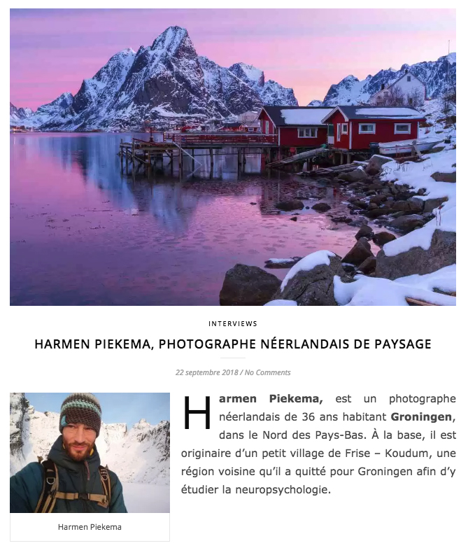 Interview for a French travel- and photography blog