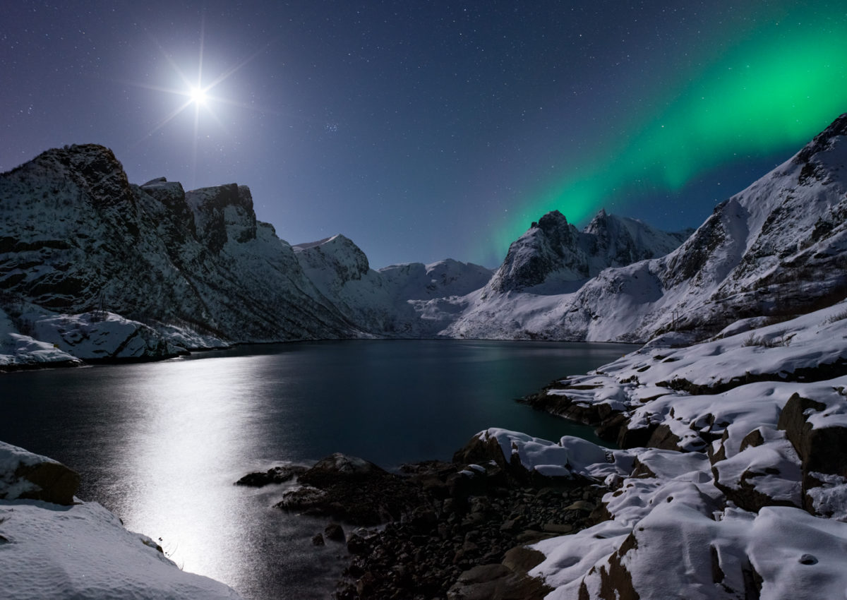 Beautiful Aurora Borealis and the Moon